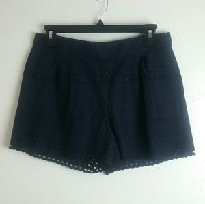 J. Crew Eyelet Shorts Navy Blue